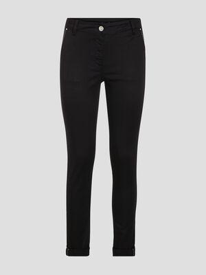 Pantalon chino ajuste noir femme