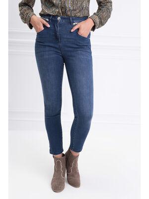 Jeans ajuste poches zippees denim brut femme