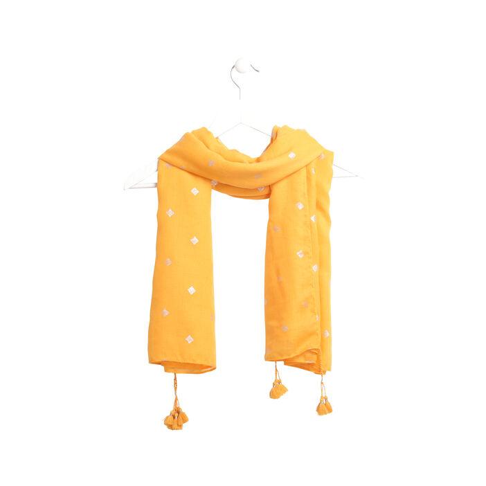 Foulard chaud détail brillant camel femme
