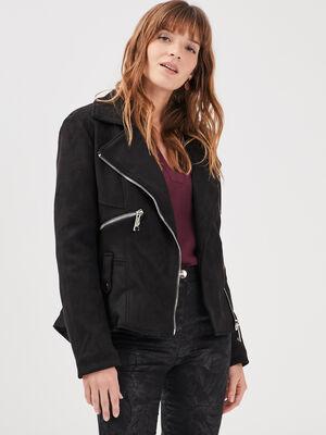 Veste cintree zippee noir femme