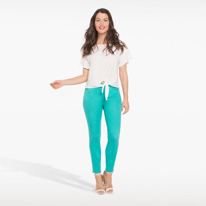 Pantalon léger toucher doux vert turquoise femme