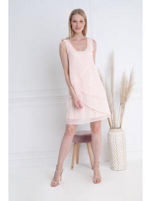 Robe courte fluide a volants rose femme