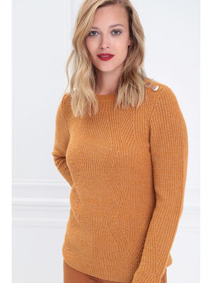 Pull fantaisie a epaules boutonnees jaune moutarde femme