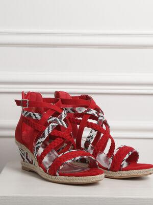 Sandales a talons bimatiere rouge femme