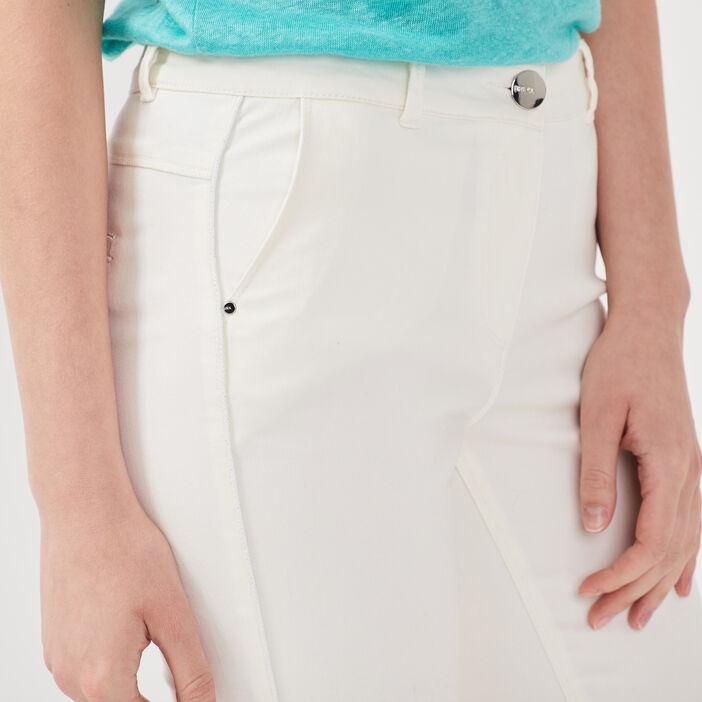 Pantalon ajusté bandes côtés ecru femme