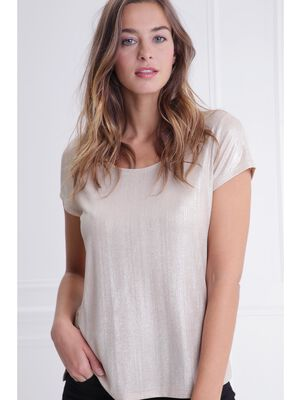 T shirt col rond maille metallisee unie rose poudree femme