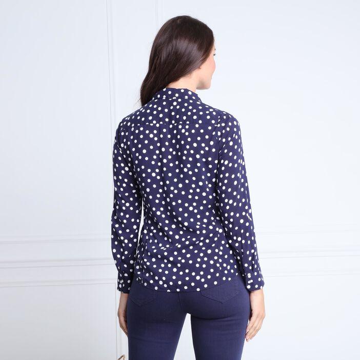 Chemise col français à pois bleu marine femme
