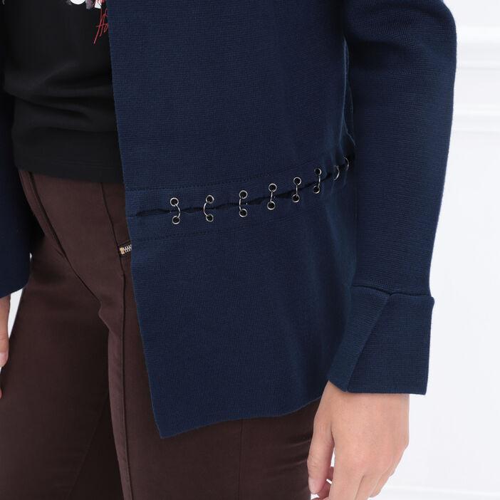 Gilet manches longues col en V bleu marine femme