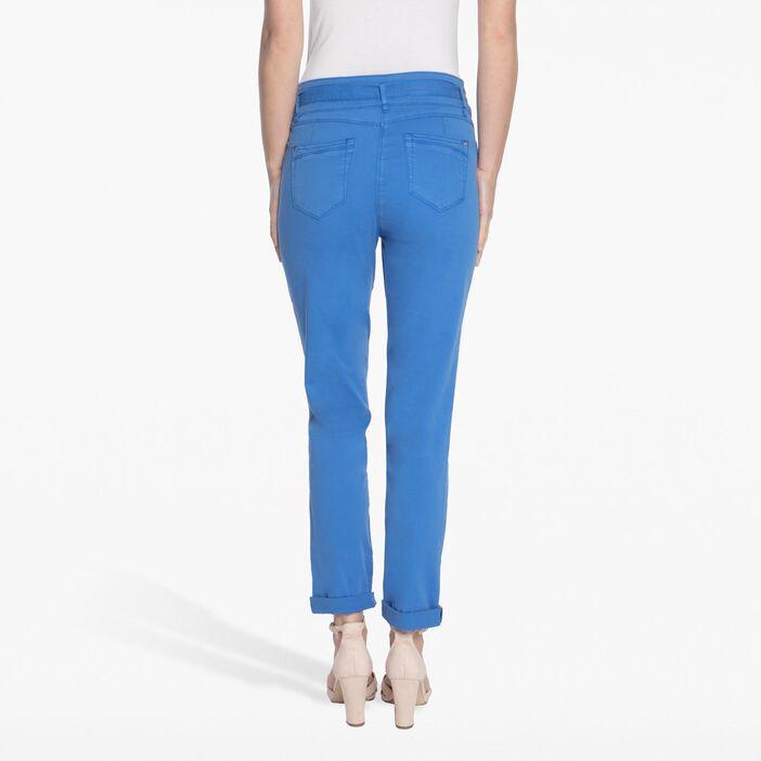 Pantalon taille haute avec ceinture bleu clair femme