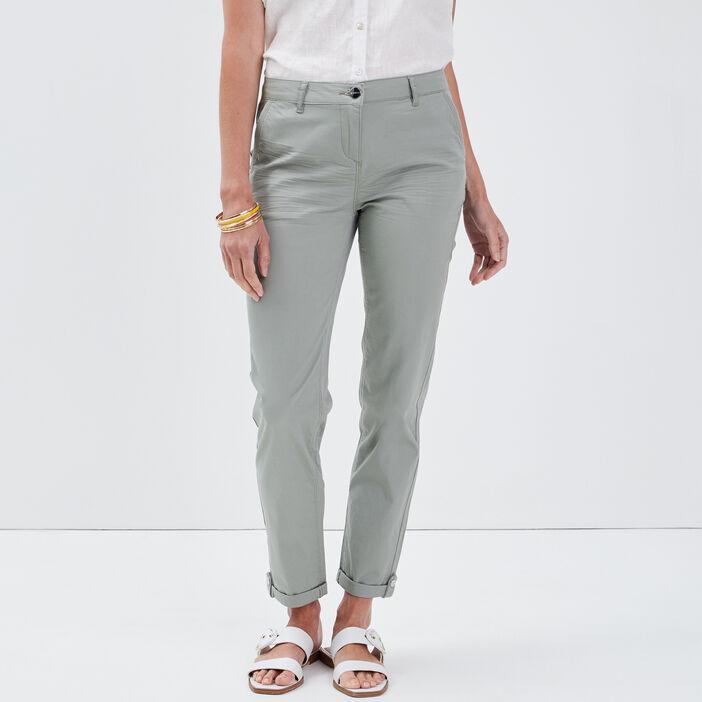 Pantalon chino ajusté vert clair femme