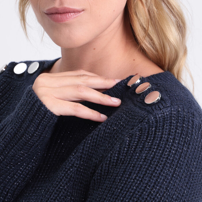 Pull fantaisie à épaules boutonnées bleu marine femme