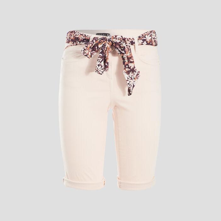 Short ajusté ceinture foulard rose clair femme