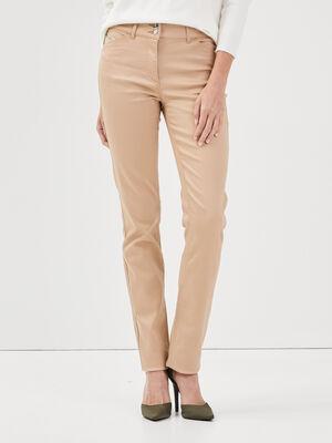 Pantalon ajuste beige femme