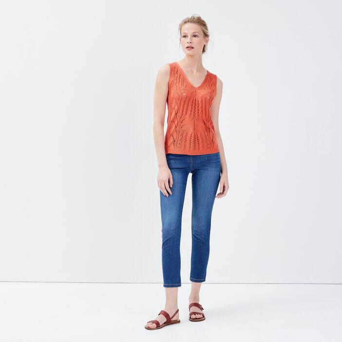 Pull bretelles larges orange foncé femme