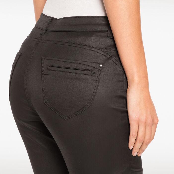 Pantalon enduit 7/8ème noir femme