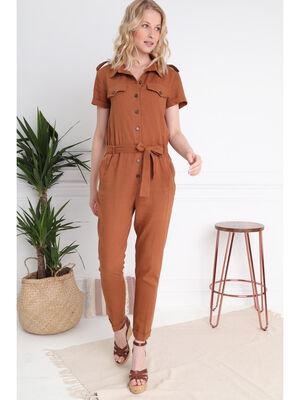 Combinaison pantalon droite marron clair femme