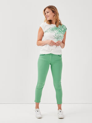 Pantalon ajuste vert femme