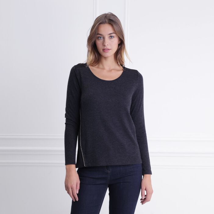 T-shirt col rond détails chaîne boules noir femme