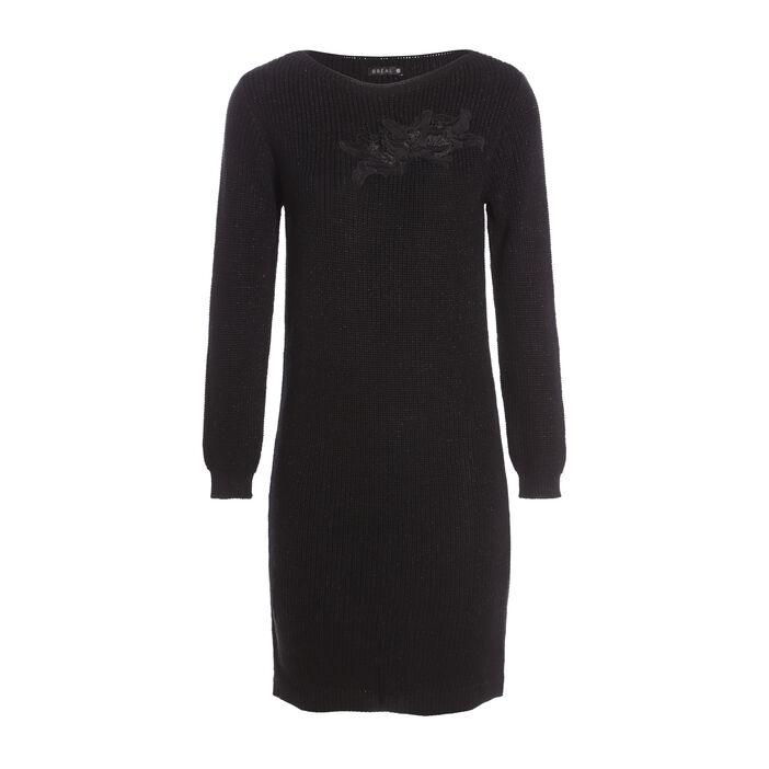 Robe longueur genoux coupe ajustée noir femme
