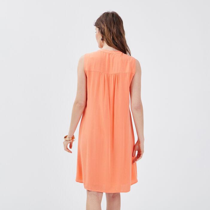 Robe évasée fluide orange corail femme