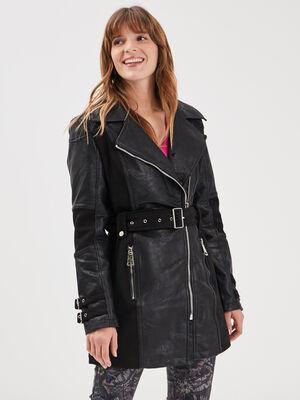 Manteau evase ceinture noir femme