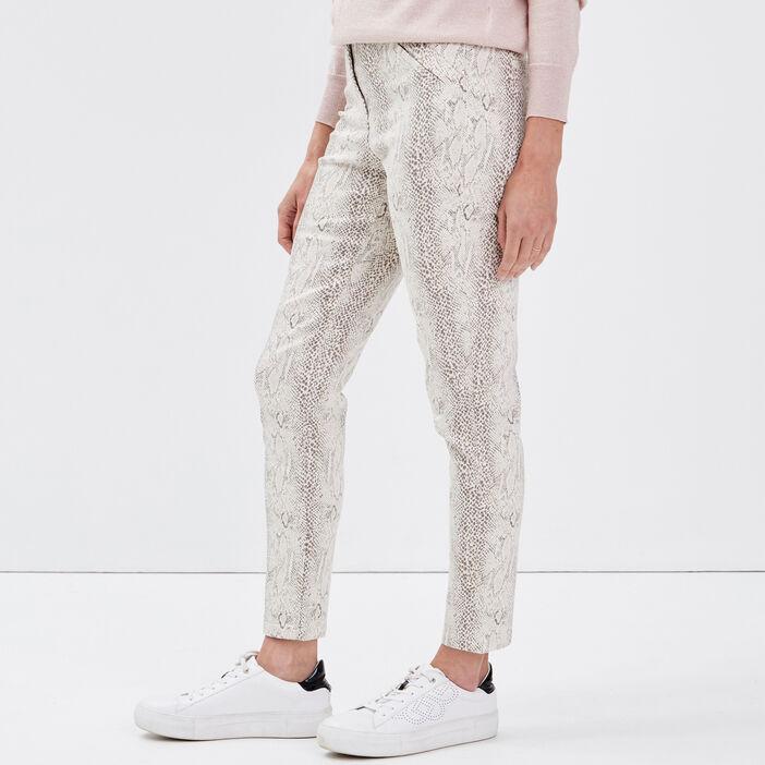 Pantalon ajusté ecru femme