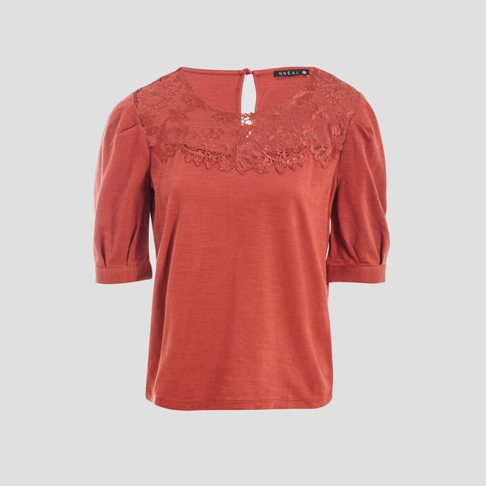 T-shirt manches courtes orange foncé femme