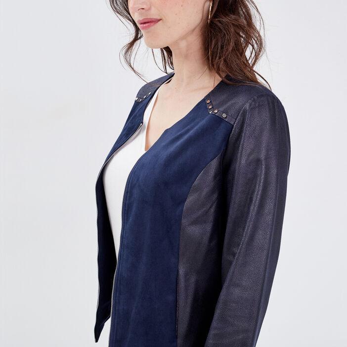 Veste droite zippée à clous bleu foncé femme