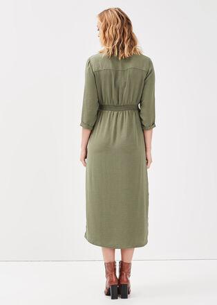 Robe chemise midi boutonnee vert kaki femme