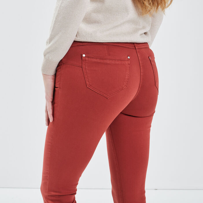 Pantalon ajusté taille standard rouge foncé femme