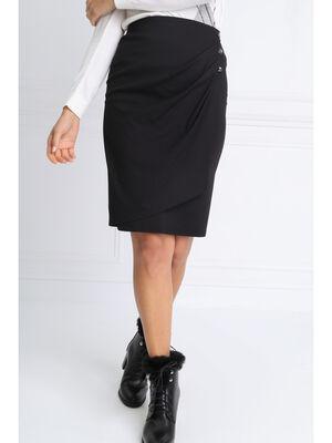 Jupe ajustee effet drape noir femme
