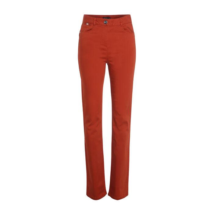 Pantalon droit taille haute orange foncé femme