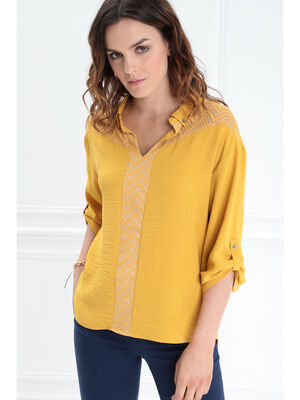 Blouse manches 34 boutonnees jaune moutarde femme