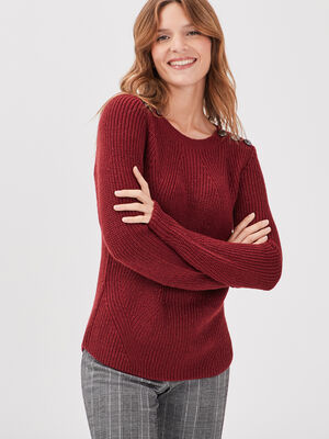 Pull fantaisie a epaules boutonnees rouge femme