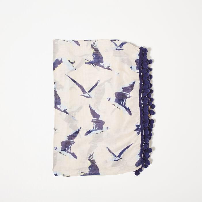 Foulard à pompons bleu marine femme