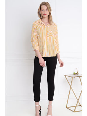 Chemise rayee bicolore jaune or femme