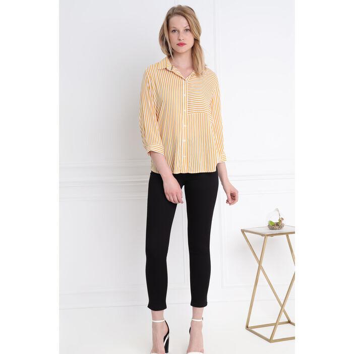 Chemise rayée bicolore jaune or femme
