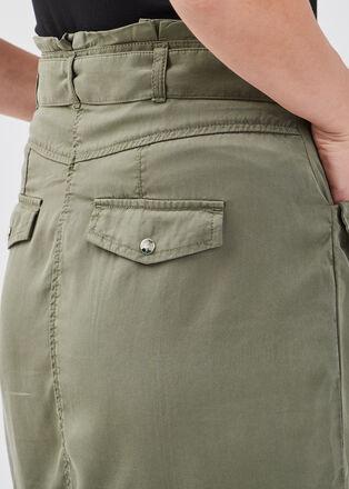 Jupe droite ceinturee vert kaki femme
