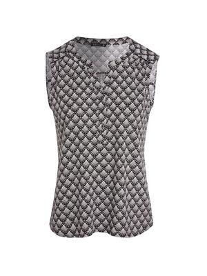 T shirt sans manche imprime noir femme