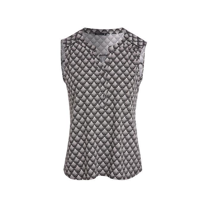 T-shirt sans manche imprimé noir femme