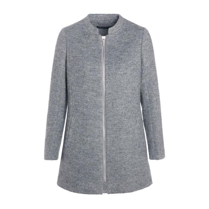 Manteau long col montant zippé gris clair femme