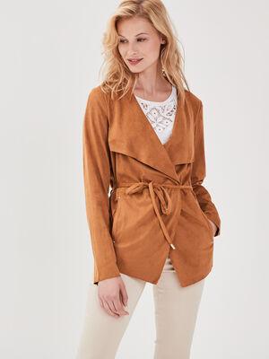 Veste droite suedine marron clair femme