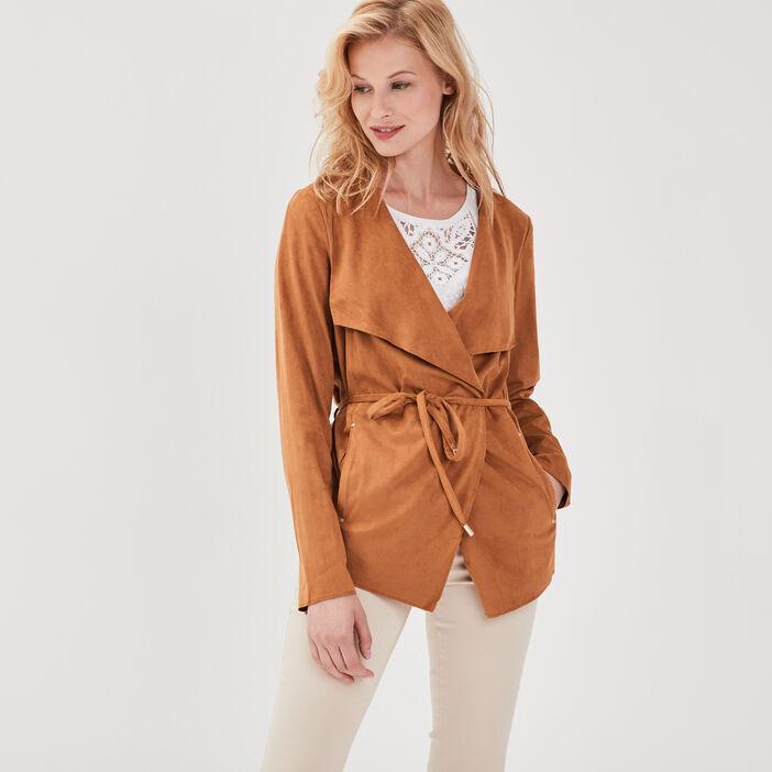 Veste droite suédine marron clair femme
