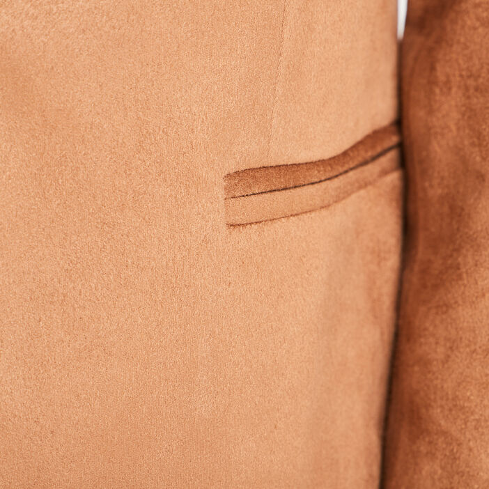 Veste droite esprit tailleur camel femme