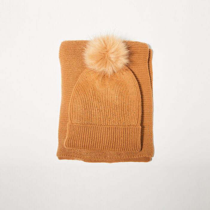 Lot bonnet et écharpe strass marron clair femme