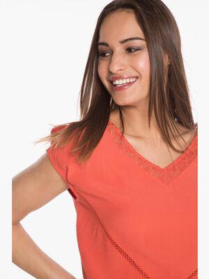 T shirt avec col V en dentelle orange fonce femme