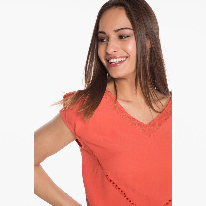 T-shirt avec col V en dentelle orange foncé femme