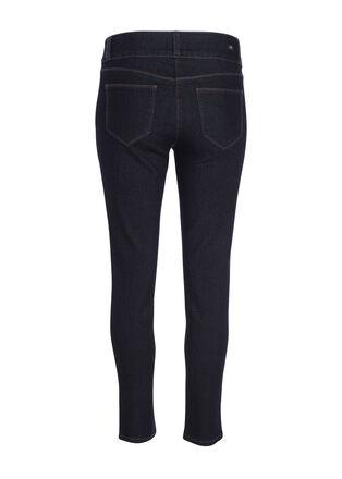 Jeans ajuste taille basculee denim brut femme