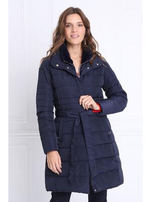 Doudoune cintree ceinturee bleu marine femme