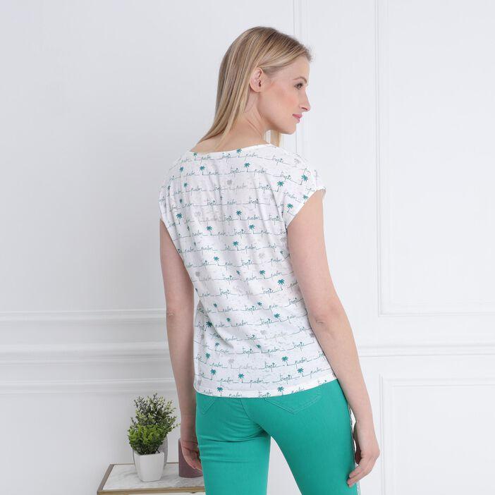 T-shirt manches courtes laçage ecru femme
